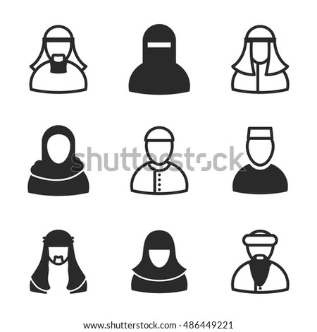 Arabian man vector icons. Simple illustration set of 9 arabian man elements, editable icons, can be used in logo, UI and web design