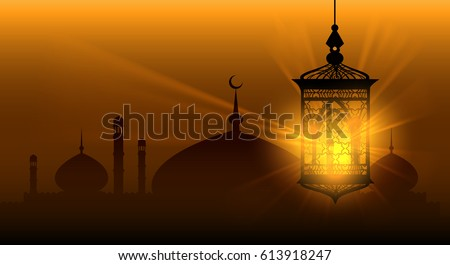 Arabian nights ramadan kareem islamic background ramadane arabic lamp or arab lantern vector background #613918247