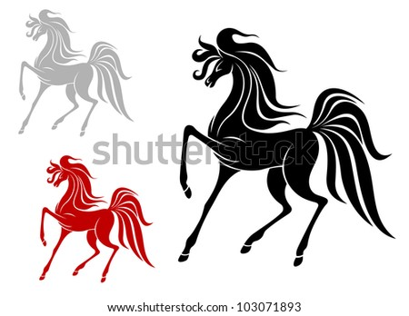 Arabian stallion in three variations isolated on white background, such logo. Jpeg version also available in gallery