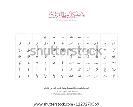 arabic alphabet - translation ( arabic calligraphy letters in Thuluth style - Arabic symbols character )set of type Font or text vector for ramadan kareem and eid mubarak designs