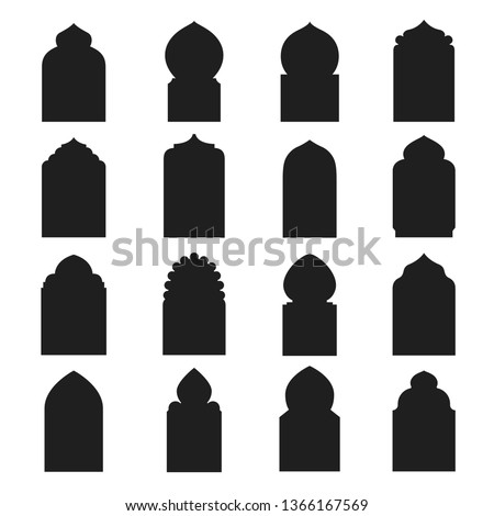 Arabic arch window and doors black set. Traditional design and culture. Vector flat style cartoon illustration isolated on white background