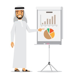 Arabic business man presenting. Vector character design.