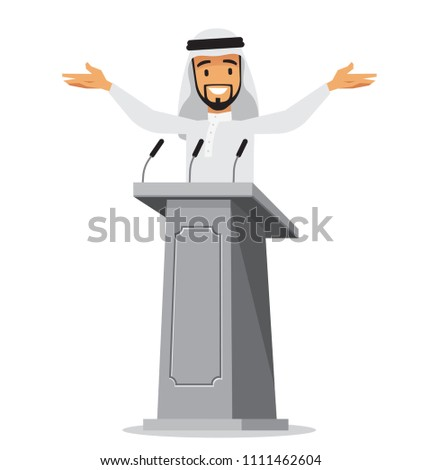 Arabic businessman standing at tribune with microphones making a speech. Orator or narrator, spokesman or leader at debates or presentation for audience. Business meeting or conference theme