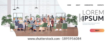 arabic businesspeople in masks working together in creative coworking center coronavirus pandemic teamwork concept modern office interior horizontal full length copy space vector illustration Photo stock ©