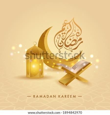 Arabic Calligraphy Of Ramadan Kareem With 3D Golden Crescent Moon, Lantern, Quran Rehal And Bokeh Effect On Yellow Background.