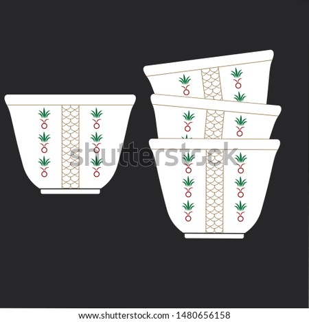 arabic coffee cups, traditional cup, traditional design