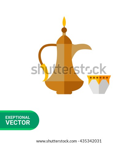 arabic coffee pot with cup icon