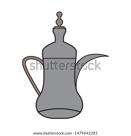 arabic coffee pots flat vector, Dallah, Arabian tradition