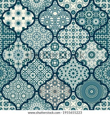 Arabic decorative azulejos tiles patchwork islamic style vector seamless pattern mosaic wallpaper Photo stock ©