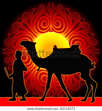 ... background a sun in the desert and men with a camel - stock vector