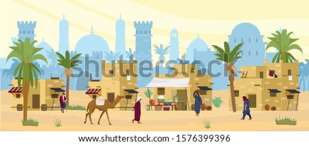 Arabic desert landscape with traditional mud brick houses and people. Ancient temple at the background. Bedouin with camel, woman with jug on head. Flat vector illustration.