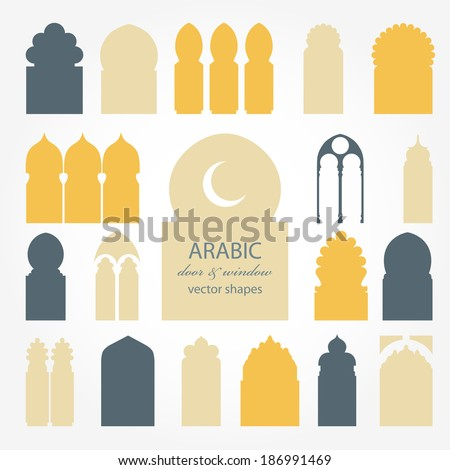 arabic door and window vector
