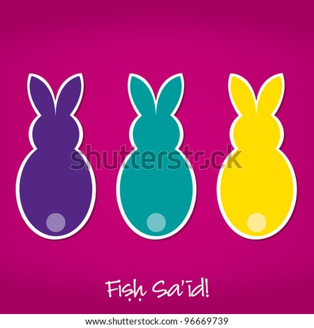 Arabic Easter Bunny card in vector format.