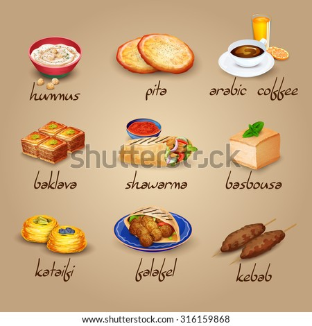 Arabic food cartoon icons set with shawarma baklava and for Arabic cuisine names