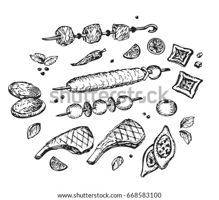 Arabic food, Halal Meat: Doner Kebab, Barbecue, Steak, Mutton ribs, Syrian and Lebanese pastries, Pita, pepper, tomato, basil, mint leaves, lemon slices.