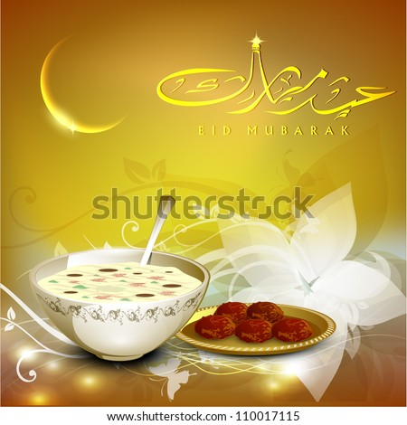 Arabic Islamic calligraphy of golden text Eid Mubarak with golden moon and sweets  on beautiful background for Eid festival. EPS 10.