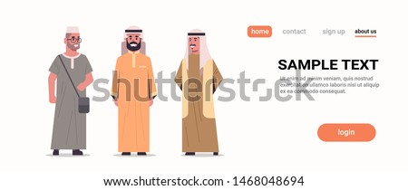 arabic men discussing standing together arab man wearing traditional clothes arabian male cartoon characters collection full length flat white background copy space horizontal