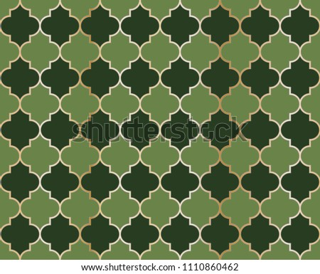 Arabic Mosque Vector Seamless Pattern. Eid al fitr muslim background.  Traditional ramadan kareem mosque pattern with gold grid mosaic.  Islamic textile grid design of lantern shapes tiles.