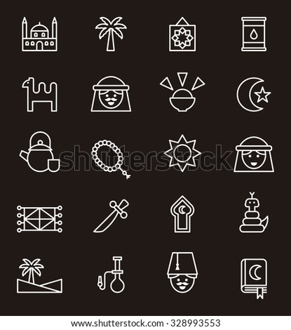 arabic outline icons