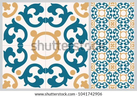 Arabic patter style tiles for wall and floor. Modern decor of the traditional Ceramic decorative tiles.