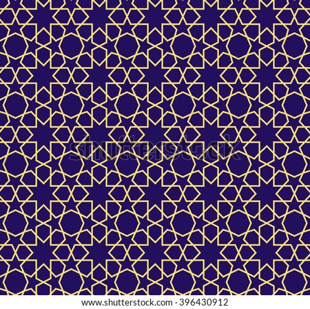 stock-vector-arabic-pattern-seamless-background-geometric-muslim-ornament-backdrop-yellow-on-blue-vector