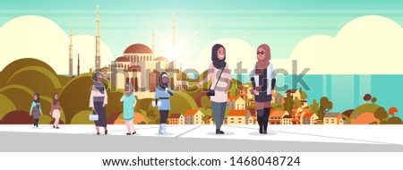 arabic people walking outdoor arab women wearing traditional clothes arabian cartoon characters over nabawi mosque building muslim cityscape beautiful seaside background horizontal