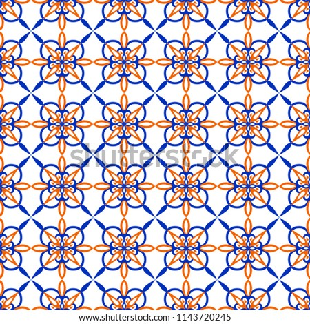 Arabic seamless vector pattern. Blue ond orange on white background print for textile