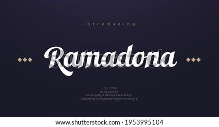 Arabic style font alphabet letters. Elegant arabian classic lettering. Typography modern serif fonts decorative asian design concept. vector illustration Stock fotó ©