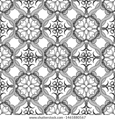 Arabic style line art tracery vector seamless pattern. Ornamental black and white arabesque background. Hand drawn vintage ethnic ornament. Floral ornament. Swirl lines, stripes, shapes, flowers.
