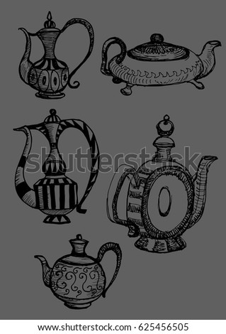 arabic vessels set vector...