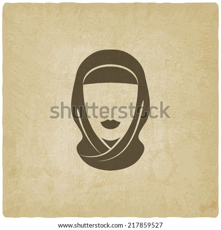Arabic woman avatar old background - vector illustration. eps 10