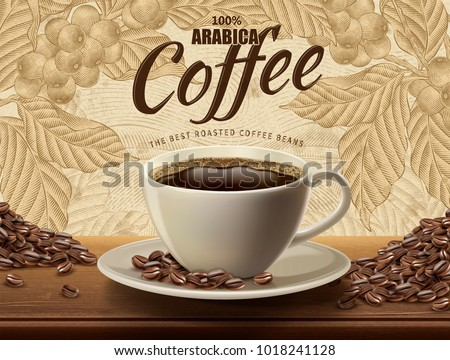 arabica coffee ads with a cup