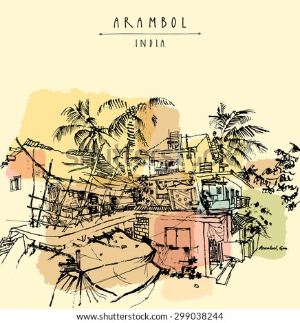 Arambol, Goa, India. Beach area. Palm trees in a narrow village street. Dirty road. Vector grungy brush freehand drawing. Retro style travel poster postcard template with hand lettering and copy space