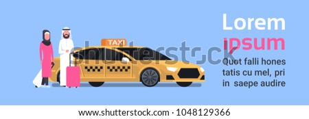 Arav Couple Of Passengers Sitting Down In Yellow Taxi Service Cab Over Background With Copy Space