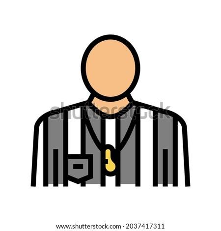 arbitrator judge or referee soccer color icon vector. arbitrator judge or referee soccer sign. isolated symbol illustration
