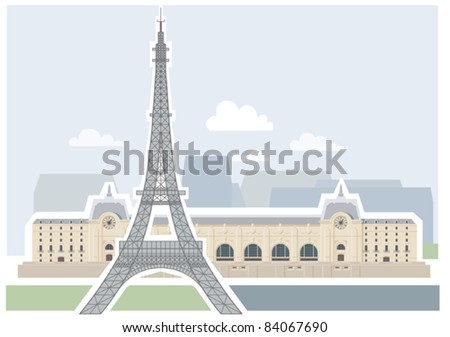 Arc de Triomphe and the Luxor Obelisk, Paris. Illustrations of the most popular tourist attractions