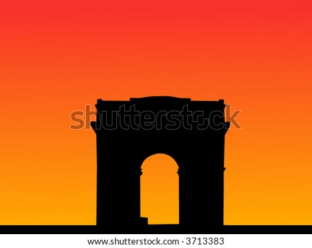 Arc de Triomphe Paris at sunset illustration