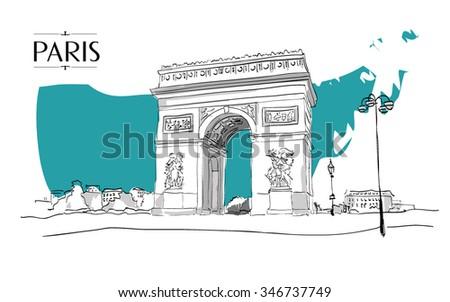 Arc de Triomphe Paris. Vector illustration, vintage sketch style