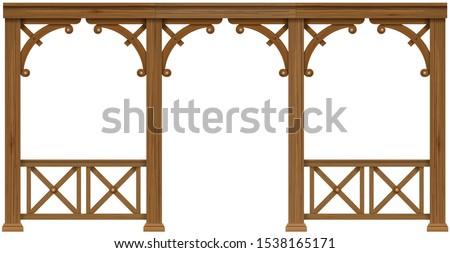 Arcade classic wooden veranda house or shed pergola. Vector graphics