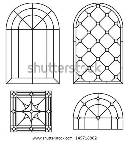 Arch border and abstract seamless ornament a set of for Window design template