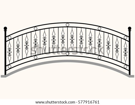 arch bridge railing vector...