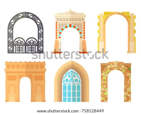 Arch design architecture construction frame classic, column structure gate door facade and gateway building ancient construction vector illustration.