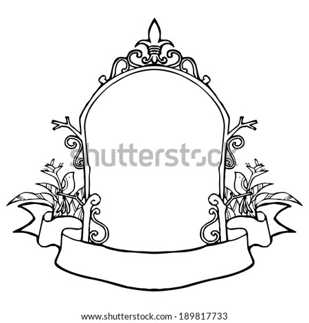Arch frame with vintage style sketch vector