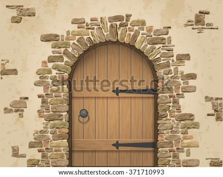 Arch of stone with closed wooden door. Entrance to the wine cellar. Vector illustration.
