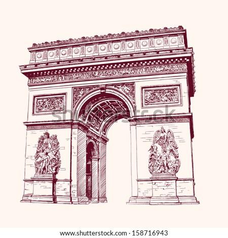 arch of triumph  paris hand
