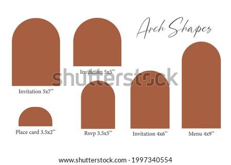 Arch Shape template, Arch Wedding invitations, laser cut invitation, menu, place card Zdjęcia stock ©