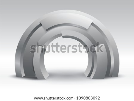 Arch Tube 3d gate entrance exhibition vector editable with modern style on isolated background