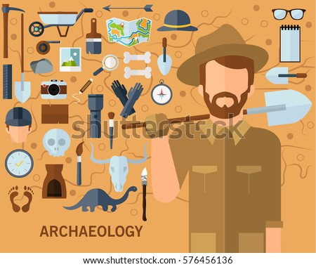 Archaeological concept background flat icons.