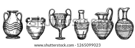 Archaeological finds. vases and pitchers. Sketch. Ancient decorative pots isolated on white background, old antique clay greece pottery ceramic bowls vector illustration.