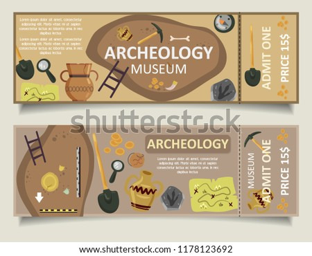 Archaeological museum admission tickets. Archaeology museum ticket vector template set.